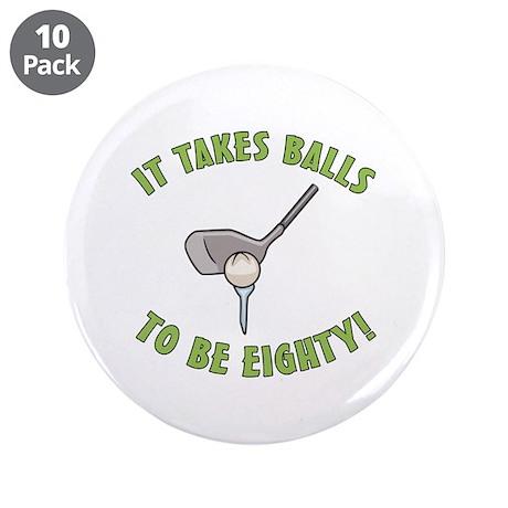 "80th Birthday Golfing Gag 3.5"" Button (10 pack)"