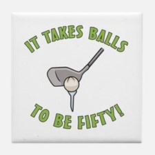 50th Birthday Golfing Gag Tile Coaster