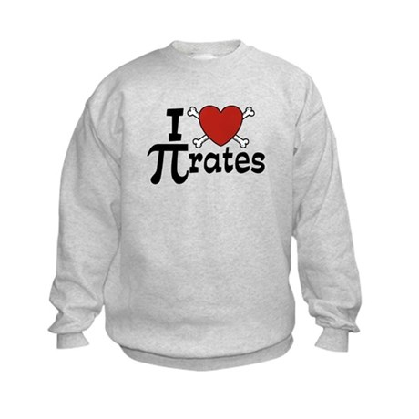 I Love Pi rates Kids Sweatshirt