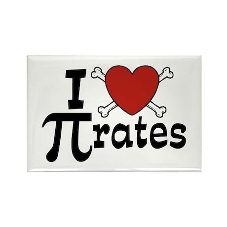 I Love Pi rates Rectangle Magnet