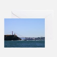 Cargo ship passing into SF Bay greeting cards