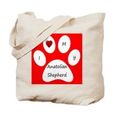 Red I Love My Anatolian Shepherd Tote Bag
