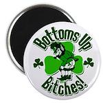 Bottoms Up Bitches Leprechaun Magnet