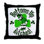 Bottoms Up Bitches Leprechaun Throw Pillow