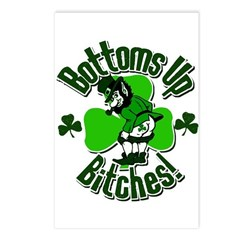 Bottoms Up Bitches Leprechaun Postcards (Package o