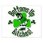 Bottoms Up Bitches Leprechaun Small Poster