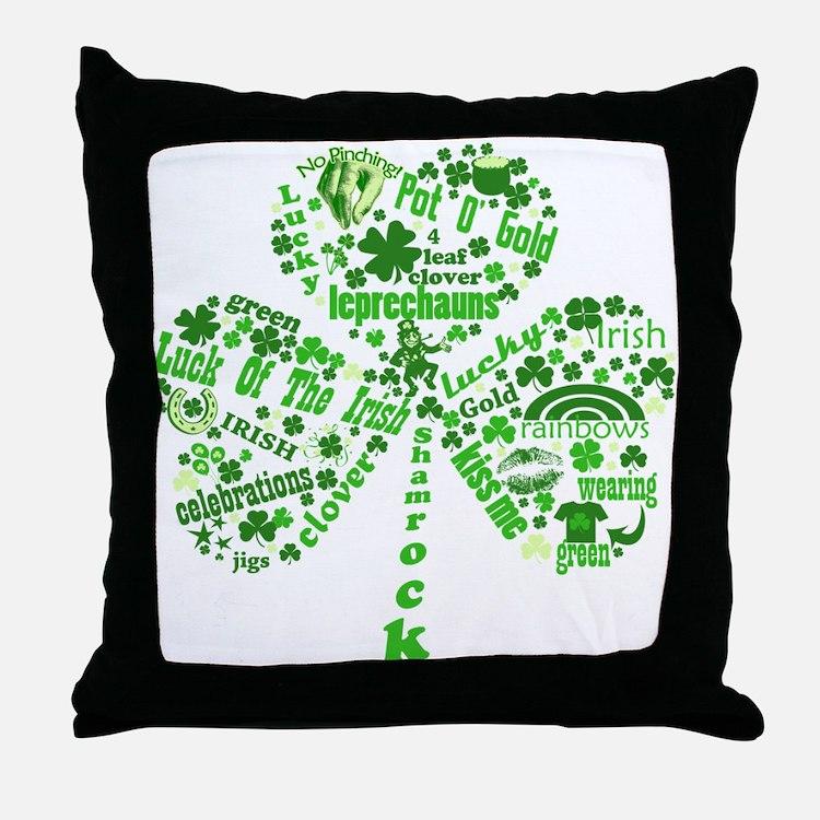St Paddys Day Shamrock Throw Pillow
