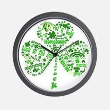 St Paddys Day Shamrock Wall Clock