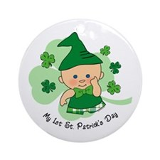 Plaid Boy 1st St. Pat's Ornament (Round)