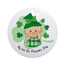 Plaid Girl 1st St. Pat's Ornament (Round)