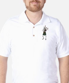 Bagpiper Skeleton Golf Shirt