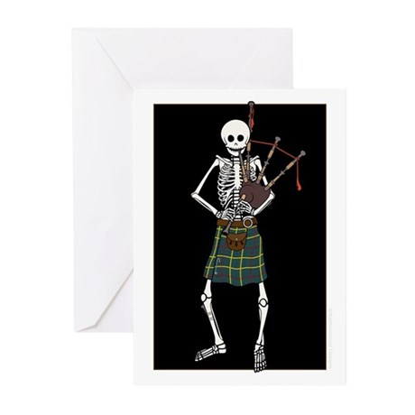 Bagpiper Skeleton Greeting Cards (Pk of 10)