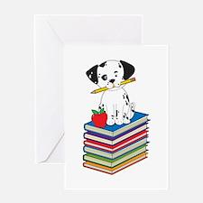 Dog on Books Greeting Card