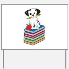 Dog on Books Yard Sign