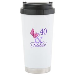40th Birthday Butterfly Stainless Steel Travel Mug