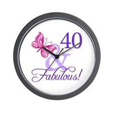 40th Birthday Butterfly Wall Clock