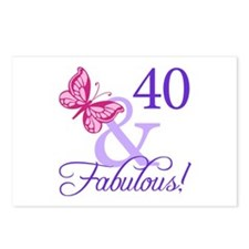40th Birthday Butterfly Postcards (Package of 8)