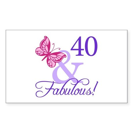40th Birthday Butterfly Sticker (Rectangle)