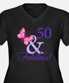 50th Birthday Butterfly Women's Plus Size V-Neck D