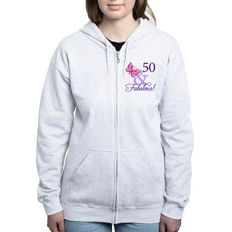 50th Birthday Butterfly Women's Zip Hoodie