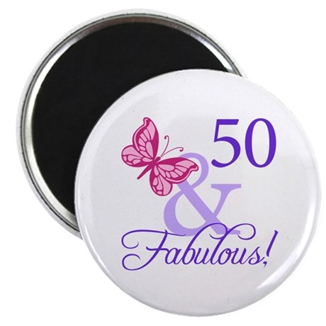 "50th Birthday Butterfly 2.25"" Magnet (10 pack)"