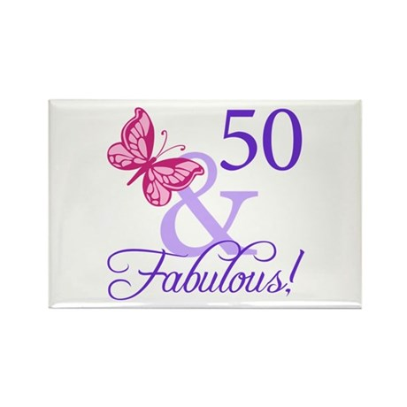 50th Birthday Butterfly Rectangle Magnet (100 pack