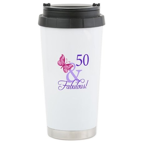 50th Birthday Butterfly Stainless Steel Travel Mug