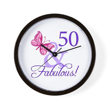 50th Birthday Butterfly Wall Clock