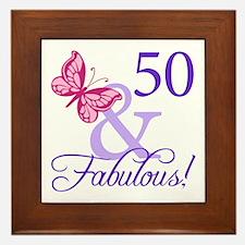 50th Birthday Butterfly Framed Tile