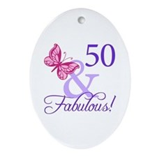 50th Birthday Butterfly Ornament (Oval)