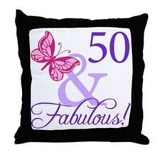 50th Birthday Butterfly Throw Pillow