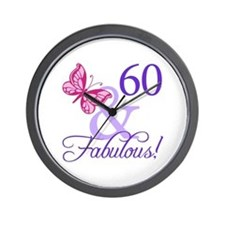 60th Birthday Butterfly Wall Clock