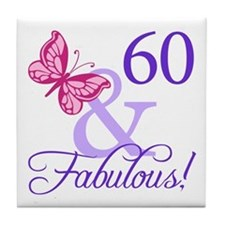 60th Birthday Butterfly Tile Coaster