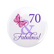 "70th Birthday Butterfly 3.5"" Button"