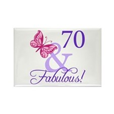 70th Birthday Butterfly Rectangle Magnet