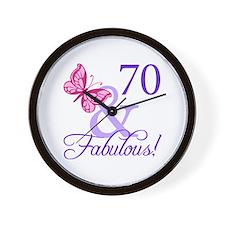 70th Birthday Butterfly Wall Clock