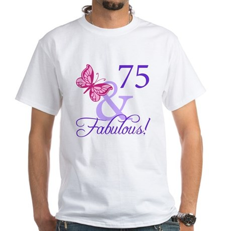 75th Birthday Butterfly White T-Shirt
