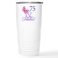 75th Birthday Butterfly Travel Coffee Mug