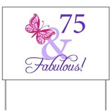 75th Birthday Butterfly Yard Sign
