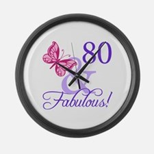 80th Birthday Butterfly Large Wall Clock