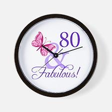 80th Birthday Butterfly Wall Clock