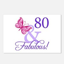 80th Birthday Butterfly Postcards (Package of 8)
