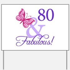 80th Birthday Butterfly Yard Sign