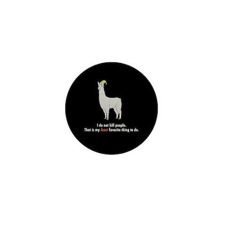 """Llamas """"I do not kill people"""" Mini Button"""