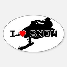 I Heart Snow Sticker (Oval)