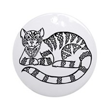 Knot Striped Black Cat Ornament (Round)