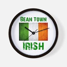 """""""BEAN TOWN IRISH"""" Flag Wall Clock"""