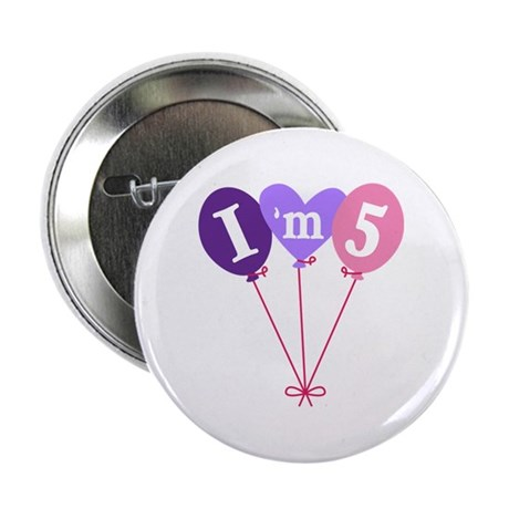"""Pink 5th Birthday Balloons 2.25"""" Button"""