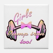 Girls pump iron too! Tile Coaster