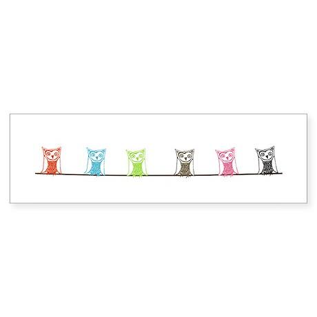 6 owls Sticker (Bumper)